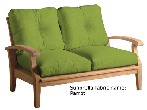 Douglas Nance Cayman Deep Seating Teak Love Seat with Sunbrella Cushions