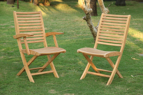 Douglas Nance Bali Indonesian Teak Folding Dining Side Chair (Set of Two) - [price] | The Adirondack Market