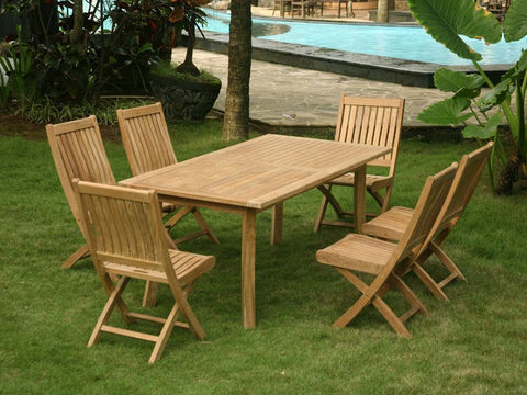 Douglas Nance Classic Folding Indonesian Teak Dining Side Chair (Set of Two) — In stock, order now!