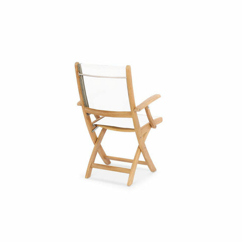 Douglas Nance Riviera Teak/Batyline Folding Dining Armchair - Set of two - [price] | The Adirondack Market