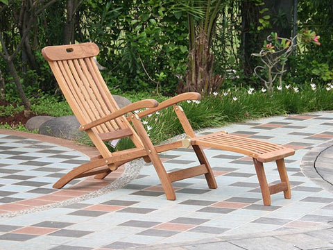 Douglas Nance Indonesian Teak Folding Steamer Lounge Chair (Set of Two)