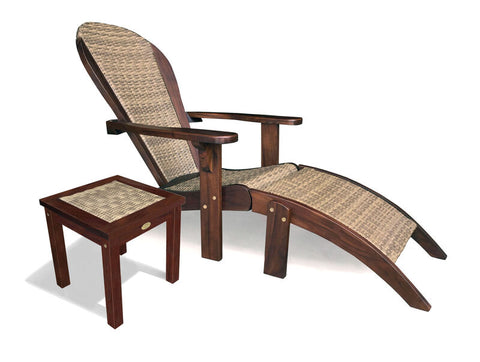 Douglas Nance Bahama Teak/Wicker Adirondack Footrest - [price] | The Adirondack Market