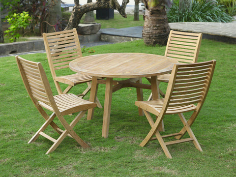 Douglas Nance Bali Indonesian Teak Folding Dining Side Chair (Set of Two) — In stock, order now!