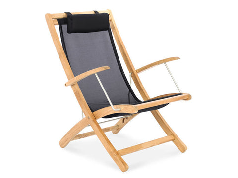 Douglas Nance Riviera Teak/Batyline Folding Beach Chair - [price] | The Adirondack Market