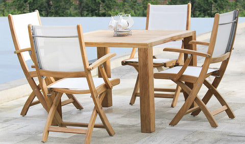 Douglas Nance Riviera Teak/Batyline Folding Dining Side Chair — Set of Two — In stock, order now!