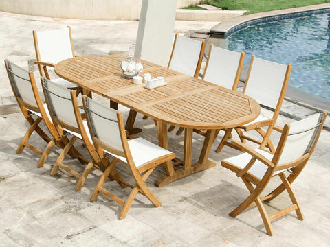 Douglas Nance Riviera Teak/Batyline Folding Dining Side Chair - Set of two - [price] | The Adirondack Market