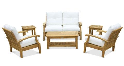 Douglas Nance Cayman Deep Seating Teak Loveseat with Sunbrella Cushions - [price] | The Adirondack Market