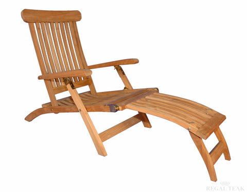Regal Teak Five-Position Teak Folding Steamer Chair - [price] | The Adirondack Market