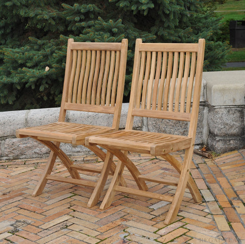 Regal Teak Rockport Teak Chair No Arms – Set of Two Chairs - [price] | The Adirondack Market