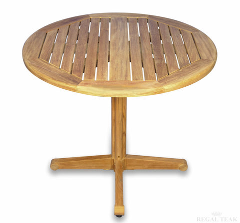 Regal Teak 36-Inch Round Pedestal-Style Teak Table - [price] | The Adirondack Market