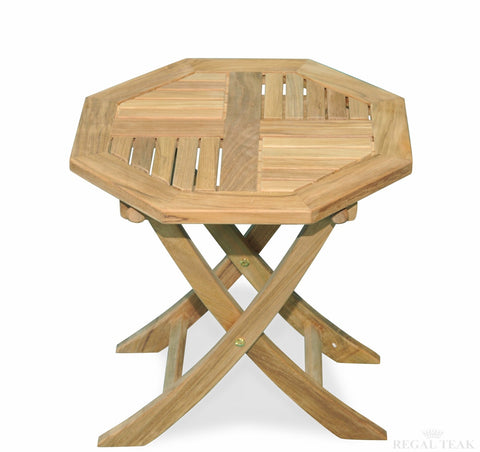 Regal Teak Small Octagonal Teak Folding Table - [price] | The Adirondack Market