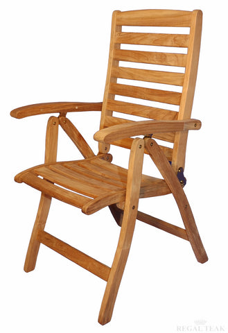Regal Teak Portsmouth Teak Folding Reclining Chairs with Arms – Set of Two Chairs - [price] | The Adirondack Market