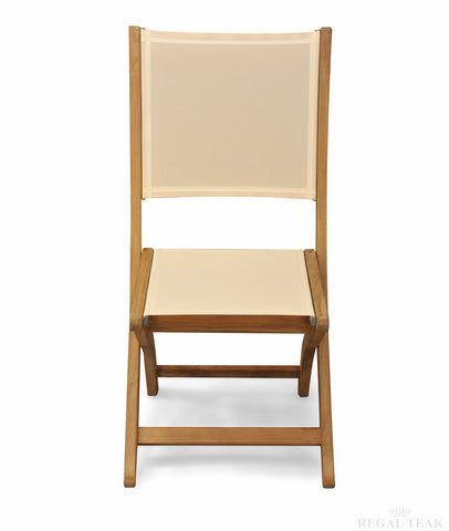 Regal Teak Providence Sling-Styled Teak Chair, No Arms – Set of Two Chairs