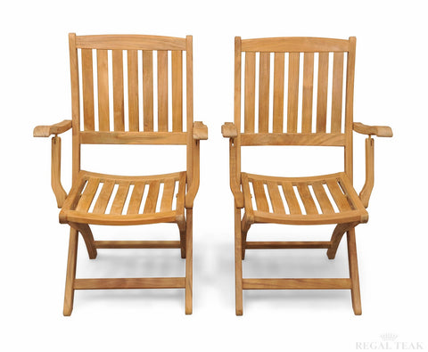 Regal Teak Providence Teak Chair with Arms – Set of Two Chairs - [price] | The Adirondack Market