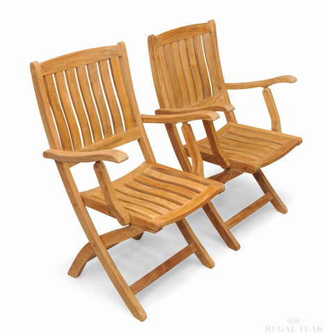 Regal Teak Providence Teak Chair with Arms – Set of Two Chairs