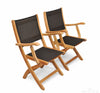 Image of Regal Teak Providence Batyline Teak Chair with Arms – Set of Two Chairs - [price] | The Adirondack Market
