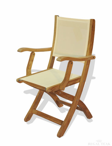 Regal Teak Providence Batyline Teak Chair with Arms – Set of Two Chairs - [price] | The Adirondack Market
