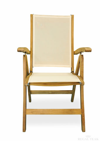 Regal Teak Batyline Sling-Styled Folding Teak Recliner Chair - [price] | The Adirondack Market