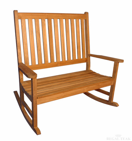 Regal Teak Carolina Teak Double Rocker - [price] | The Adirondack Market