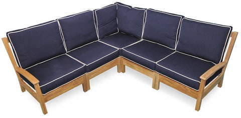 Regal Teak Deep Seating Teak Sectional with Sunbrella Cushions