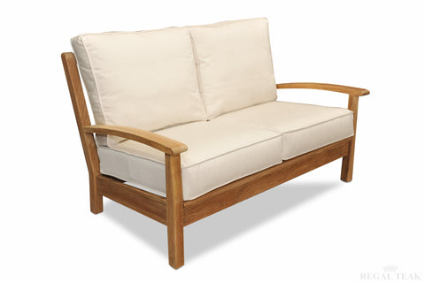 Regal Teak Deep Seating Teak Love Seat With Sunbrella Cushions - [price] | The Adirondack Market