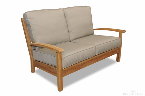 Regal Teak Deep Seating Teak Love Seat With Sunbrella Cushions