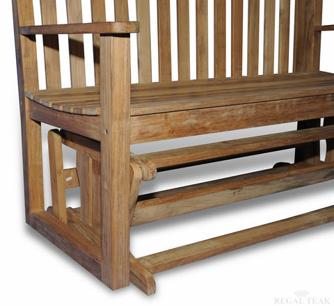 Regal Teak Porch Glider — Order now for November shipment
