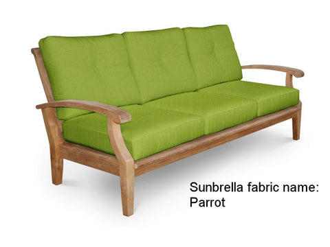 Douglas Nance Cayman Deep Seating Teak Sofa with Sunbrella Cushions — In stock, order now!