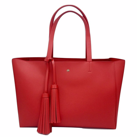 Faux leather tote bag in Red