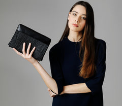 Pinatex and Faux Leather clutch crossbody bag
