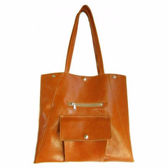 Glazed fabric tote in Butterscotch