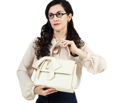 Faux Leather Pussycat bow Satchel Bag in Cream with Shoulder strap
