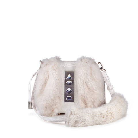 Faux Fur and Faux Leather Backpack in White with adjustable Shoulder strap