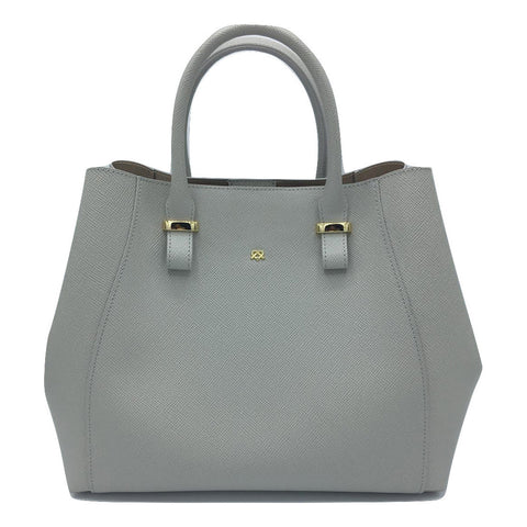 Faux Leather Large Handbag in Grey with optional Shoulder strap