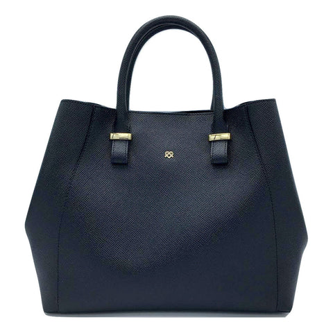 Faux Leather Large Handbag in Black with optional Shoulder strap