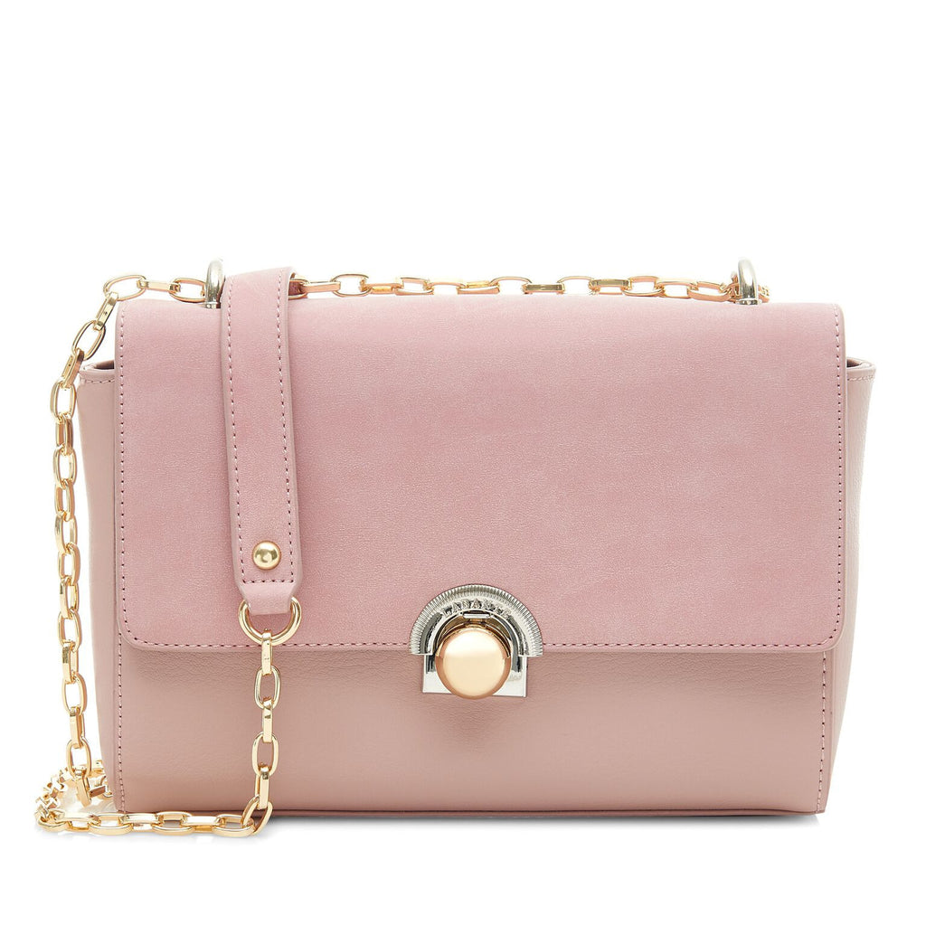Faux Leather Clutch in Pink with Gold Clasp and  Chain