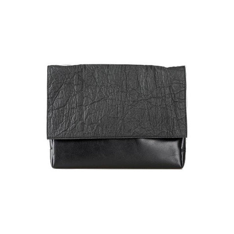 Pinatex and Faux Leather Medium Clutch Crossbody in Black