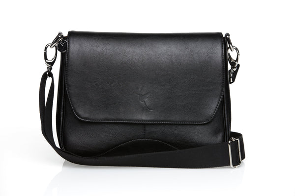 Faux leather premium quality satchel in black