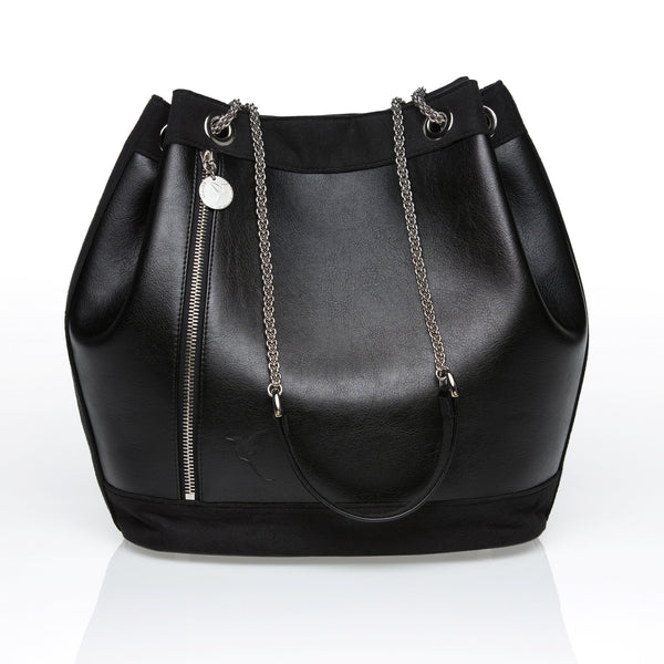 Faux leather premium quality bucket bag in black