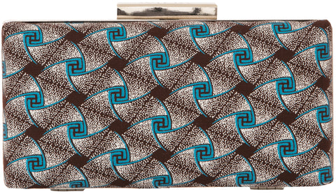 Elegant Box Clutch in Blue swirl pattern
