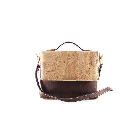 Cork Satchel Bag in Brown and Natural with chain