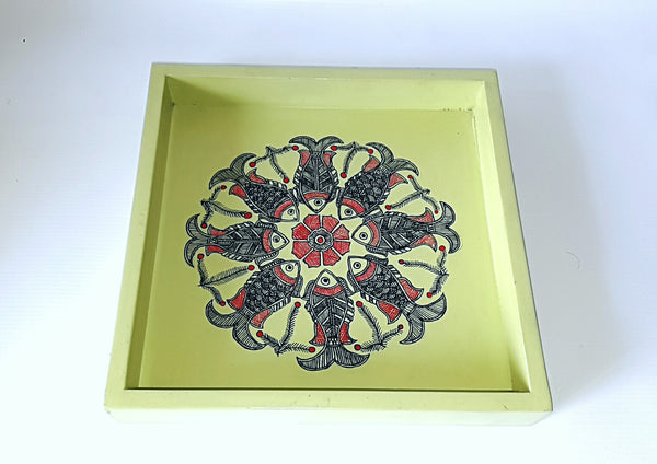 Madhubani Handpainted wooden tray