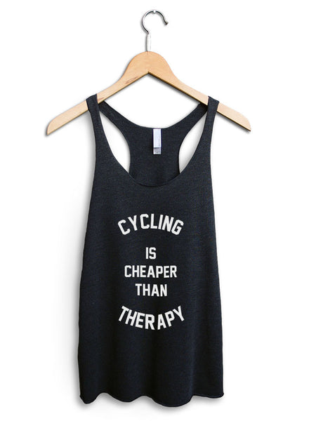 Cycling Is Cheaper Than Therapy Women's Black Tank Top