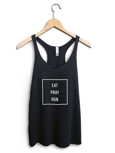 Eat Pray Run Women's Black Tank Top