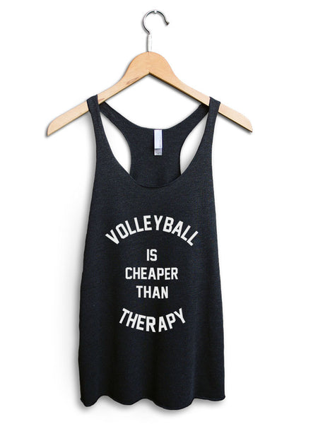 Volleyball Is Cheaper Than Therapy Women's Black Tank Top