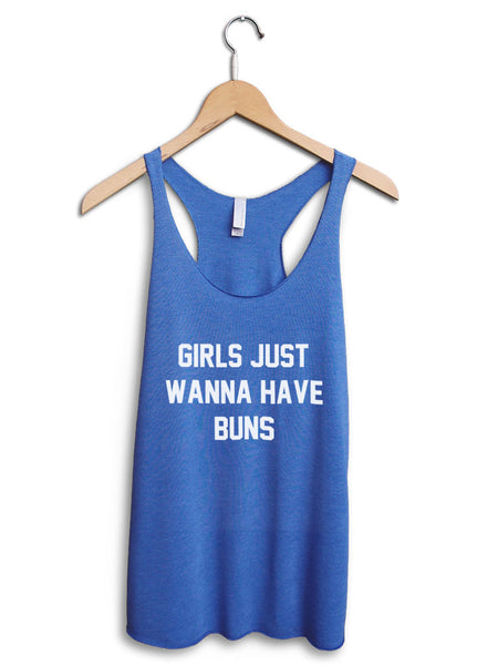 Girls Just Wanna Have Buns Women's Blue Tank Top