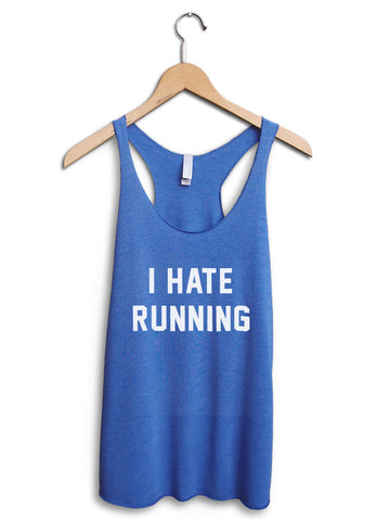 I Hate Running Women's Blue Tank Top