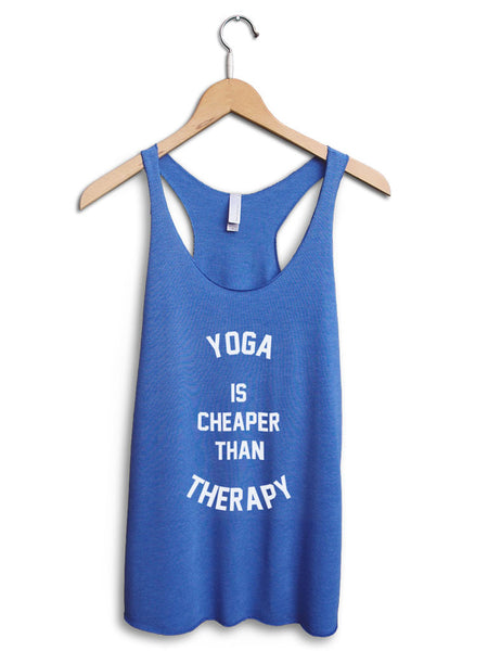 Yoga Is Cheaper Than Therapy Women's Blue Tank Top