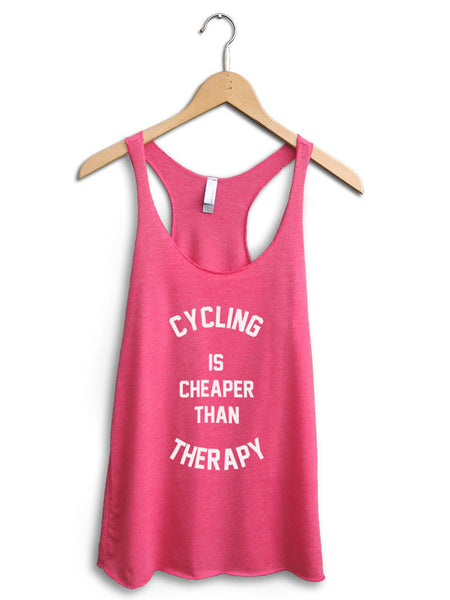 Cycling Is Cheaper Than Therapy Women's Pink Tank Top