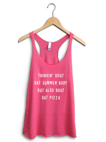 Thinkin Bout Dat Pizza Women's Pink Tank Top